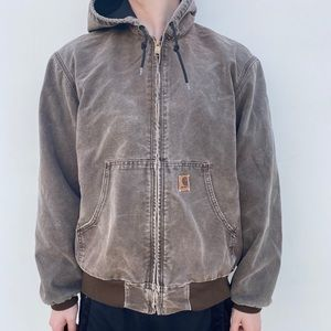 Brown Carhartt Hooded Work Jacket